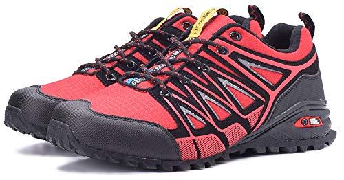 Zapatillas de Trail Running para Hombre Mujer Zapatos para Correr y Aire Libre y Deportes Calzado Deportivos Gimnasio Sneakers - Rojo - 43 EU