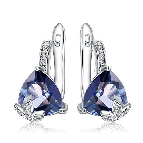 Stud oorbellen voor vrouwen 925 Sterling Silver Triangle Oorbellen 6.10Ct Natural Ioliet Blue Mystic Quartz Oorbellen Fine Jewelry