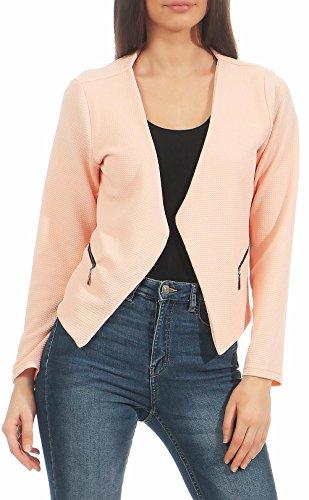 Malito Damen Blazer ohne Kragen | Sakko im Basic Look | Kurzjacke mit Zipper | Jacke - Jackett - Blouson 6040 (rosa, XL)