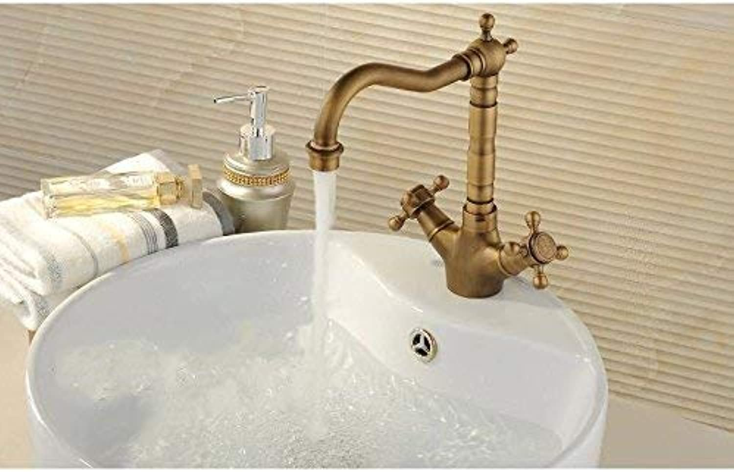 FERZA home Sink Mixer Tap Bathroom Kitchen Basin Tap Leakproof Save Water Full Antique Copper Cold Water Slot