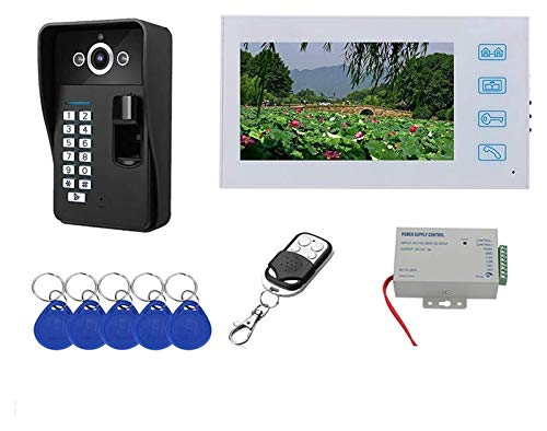 LGCTION Video Doorbell, Fingerprint Remote Control Unlock Video Door Phone, Intercom, 1080P Night Vision Camera (Color : Parent)