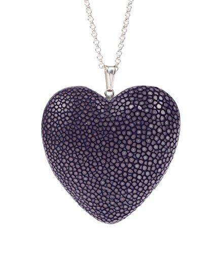 Felex Stingray Stingray Halskette mit Herz Anhänger aus rochenleder Kette Acai Lila