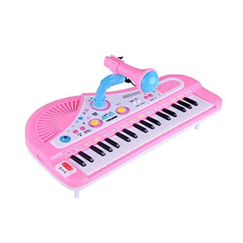 LIUFS-El teclado Teclado de 37 teclas para niños Micrófono multifuncional Piano Instrumento de música de juguete (Color : Pink)