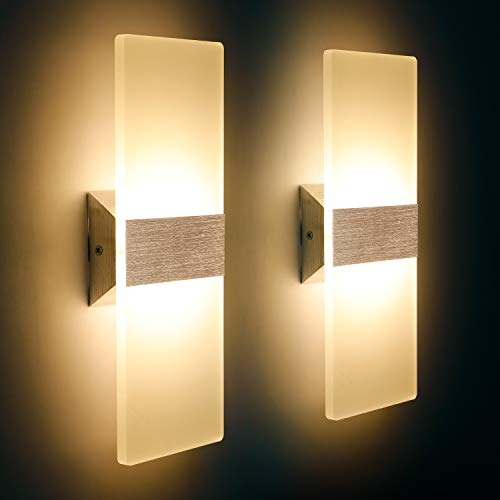 LED Wandleuchte Innen 12W Mordern Wandlampe Acryl Wandbeleuchtung Warmweiß 3000K für Wohnzimmer Schlafzimmer Treppenhaus Flur (2 Pack)
