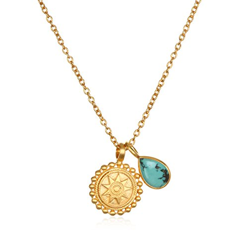 Satya Jewelry Mandala Turquoise Birthstone Pendant Necklace 16-Inch +2-Inch Extension, Blue, One Size