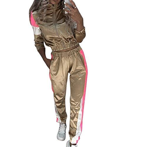 OEAK Damen Satin Freizeitanzug Sportanzug Jogginganzug Kontrastfarbe Streifen Reißverschluss Sportjacke Jogger Sporthose mit Tunnelzug Sweatanzug 2 Stück