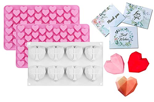 ZoomPlus 3pcs Diamond Heart Shape Chocolate Silicone Molds with 2 Mini Heart Molds and 3 Greeting Cards, Non-stick Easy Release 3D Molds for Mousse Cake Baking, French Dessert, Candy, Ice Cube, Soap.