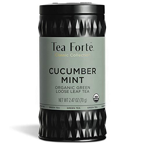 Tea Forte Cucumber Mint Organic Green Tea, Loose Tea Canister Makes 35-50 Cups, 2.47 Ounces