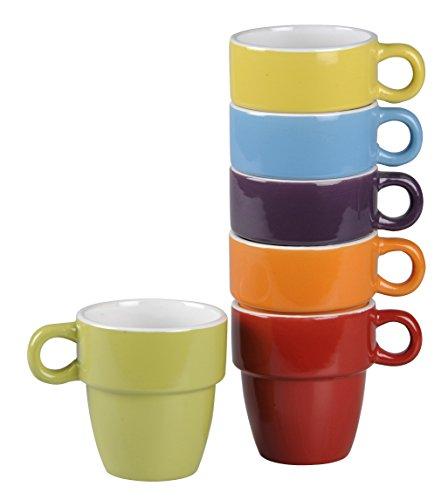 DRULINE 6er Set Kaffeetasse Teetasse Henkeltasse aus Porzellan (Bunt) Füllmenge 200 ml