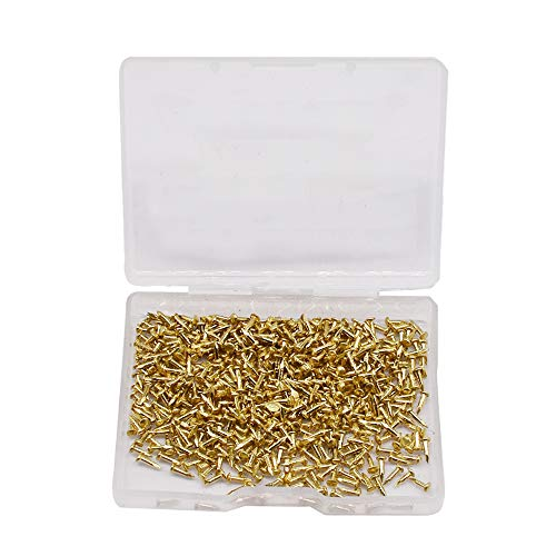 DAZISEN Pequeñas Uñas de Madera - 500 Piezas Pequeñas Uñas Tornillos de Madera Compacto Antiguo DIY Caja Decorativa Accesorios Mini Uñas dorado 1.15 x 6 mm