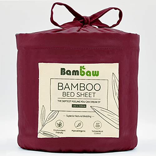 Bambaw Spannbettlaken aus Bambus | Spannbetttuch | atmungsaktiver Stoff| Temperaturregulierender Bettbezug | Burgunderrot | 180x200