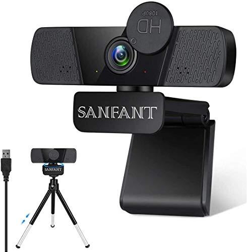 Sanfant Webcam mit Mikrofon, HD 1080P Web Kamera mit Webcam Abdeckung,110° Blickfeld, USB Plug & Play für Computer, PC, MAC, Laptop, Desktop, Zoom, Skype und FaceTime