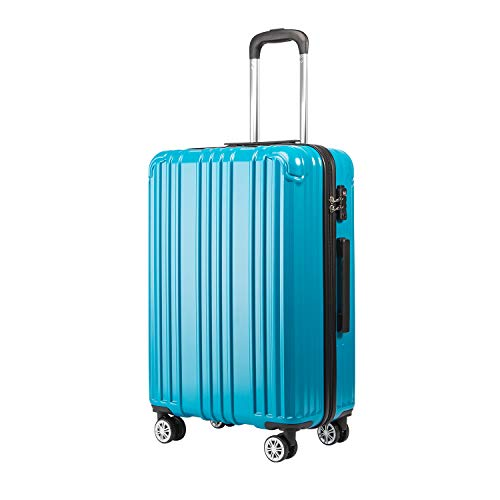 COOLIFE Suitcase Lightweight 66cm Hard Shell 4 Wheel Travel Hand Cabin Luggage Suitcase with TSA Lock(Turquoise Blue, M(66cm 60L))