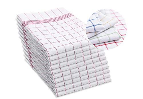 SAMMARA- 10 X Geschirrtücher mit Aufhänger, 100% Baumwolle, 50x70 cm hochwertige Geschirrtücher, Küchentücher, Grubentuch, trockentücher- Saugstark, Kitchen Towels- Rot kariert!