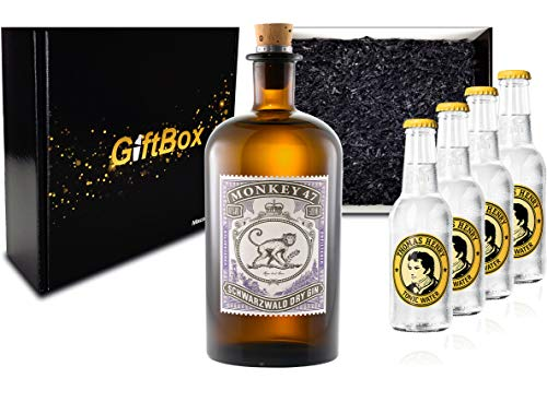 Monkey 47 Gin Tonic Set/Geschenkset/Giftbox - Monkey 47 Schwarzwald Dry Gin 500ml (47% Vol) + 4x Thomas Henry Tonic Water 200ml - Inkl. Pfand MEHRWEG
