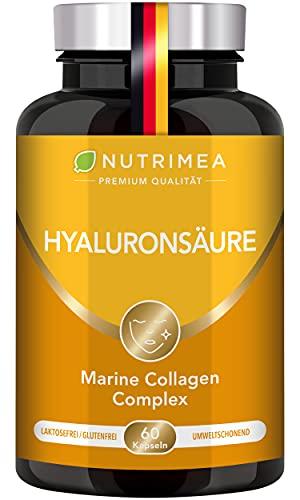 Hyaluronsäure Kapseln Hochdosiert | Angereichert mit Vitamin C + Vitamin A | Premium Beauty Collagen + Hyaluron | Kollagen gegen Falten & Anti Aging Gelenke Gelenkkapseln