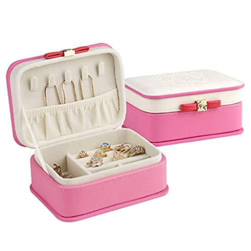 Preisvergleich Produktbild WM home Haushalt Schmuck-Box,  Leder Schmuckschatulle,  Haltbar und Multifunktional mit Lock,  for Armband,  Ring,  Lippenstift,  Ohrring (Color : Rose red)