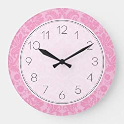 daoyiqi 15 Inch Wall Clock, Pink Elegant Vintage Damask Large Clock, Silent Non Ticking Quality Quartz Wood Clock for Bedroom, Living Room Home Decor