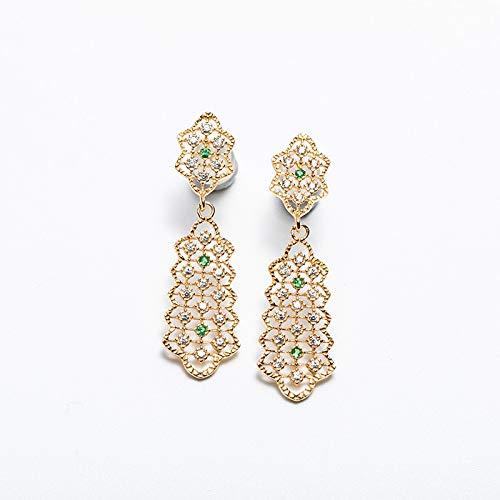 WATERMELON Barroco Vintage Corte Stud Pendiente Piedra Preciosa Esmeralda Renacimiento Joyería Plata esterlina Chapado en Oro Accesorios Earrings