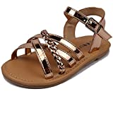 MUYGUAY Toddler Girls Sandals Open-Toe Leather Girls Flats Sandals with Cross Strap Casual Summer Shoes for Baby/Little Girls (10 M US Toddler, Rose Gold)