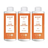 MOXE Citrus Hand Sanitizer Gel 70% Ethyl Alcohol - Made in America, Dispensing Pump Refill, Non-drying, Non-sticky, Gentle with Aloe Vera & Vitamin E, Fights Germs & Bacteria - 4 ounces x 3 bottles