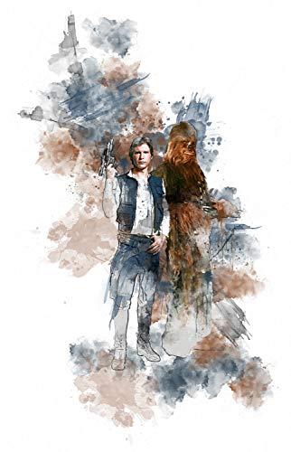 Han Solo Star Wars A3 Digital Watercolour Splash Effect Poster Print