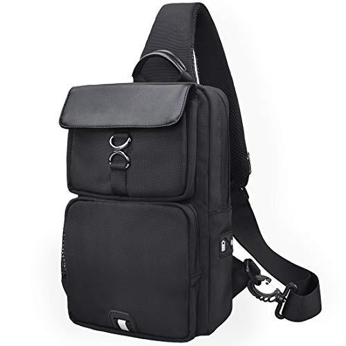 NUBILY Bolso Bandolera Impermeable Bolsos Mochila con USB y Orificio para Auriculares para Hombre y Mujere Negro Bolso Pecho Deportes Trabajo Casual Viajes Senderismo