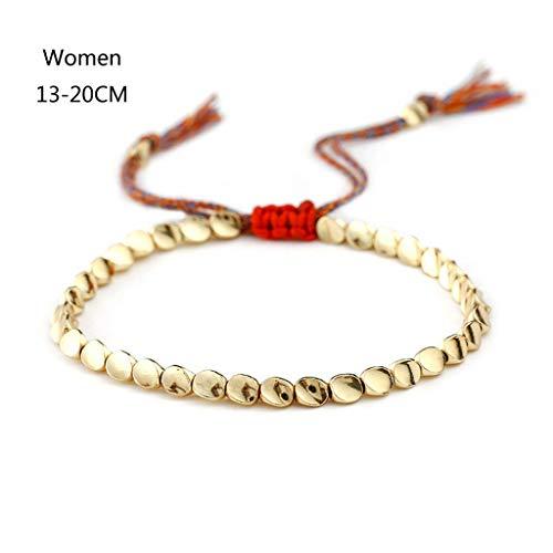 GREEN&RARE Pulsera hecha a mano de algodón de la suerte, pulsera tibetana de cuentas de cobre, pulsera budista trenzada buena suerte para hombres/mujeres, joyería de amuleto ajustable