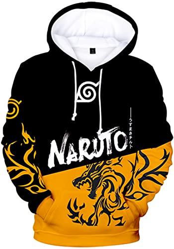 PANOZON Sudadera Naruto Hombre Impresa Figuras de Anime Uzumaki Naruto Hokage Ninja Manga (L, Negro Amarillo 931)