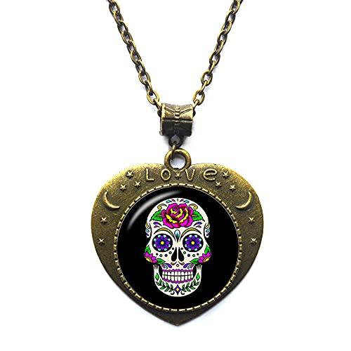 Collar de calavera de azúcar para mujer, collar de cráneo de caramelo, collar de calavera personalizada, collar de esqueleto JV373