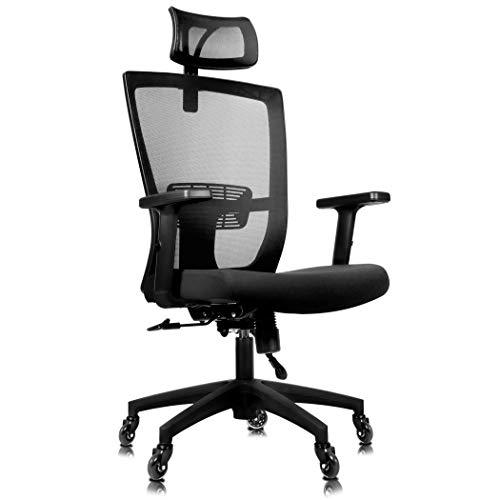 Becko Silla de oficina ergonómica ajustable con ruedas de rodillo para el hogar y la oficina, con respaldo de malla transpirable, cojín grueso cómodo, soporte lumbar y reposacabezas retráctil (negro)