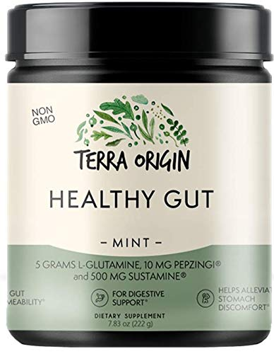 Healthy Gut Digestive Support Supplement, Powder, Mint Flavor, 30 Servings, Includes L-Glutamine, Herbs, Antioxidants for Leaky Gut Support, Promotes Healthy Digestion