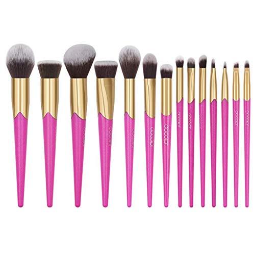 Pinceau De Maquillage Professionnel, 12 Pcs Rose Rouge Fondation Blush Brosse Ombre À Paupières Douce Brosse Set