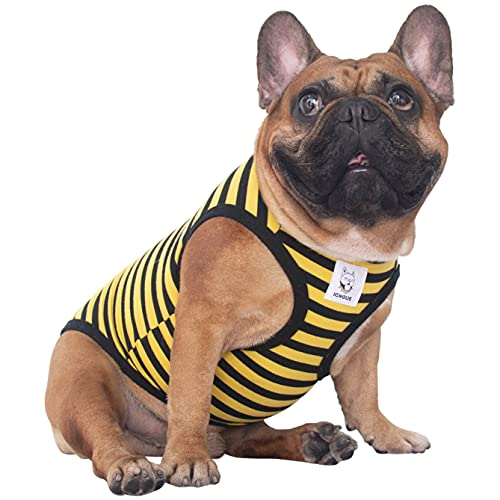 iChoue Striped Dog T Shirts Clothes for Medium Size Boy Male Vest Tank Top French Bulldog Frenchie Pug English Boston Terrier Pitbull Yellow Black Strips - M