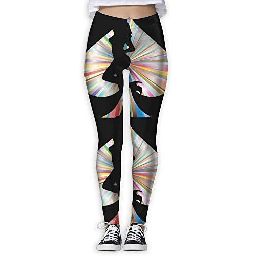 ANTOUZHE Pantalones de Yoga Sexy Poker Girl Womens Full-Length Sports Running Yoga Workout Leggings Pants Stretchable for Women Tummy Control