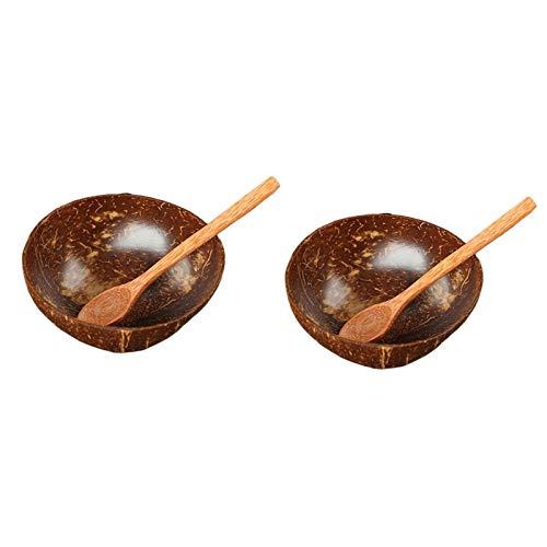KAPAYONO 2Pcs Natural Coconut Bowl Tablespoon Set - Fruit Salad Noodle Rice Bowl Wooden Fruit Bowl Handicraft Decoration Φ12-15cm
