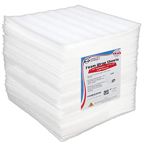 100 Pack Mighty Gadget (R) 12' X 12' X 1/16' Moving Supplies Packing Foam Sheets (White)