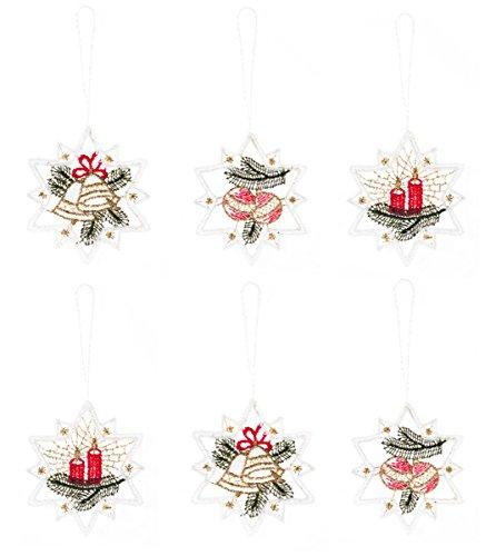 Plauener Spitze albero ornamento 'grandi stelle' rosso Set di 6, decorazione, ciondolo, gioielli (12)