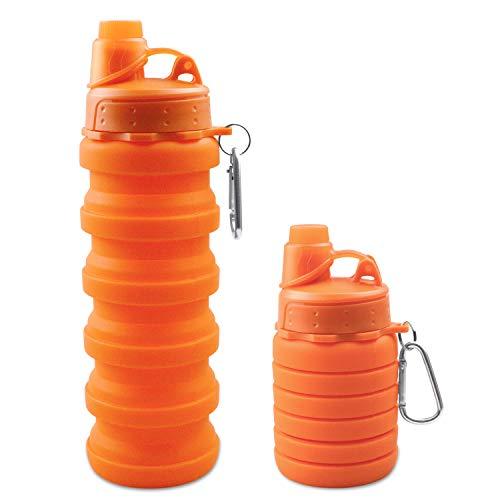 Botellas de Agua de Silicona Plegables, 500ml Taza de Viaje Grado Alimenticio a Prueba De Fugas Sin BPA para Gimnasio, Camping, Senderismo - Obbsen