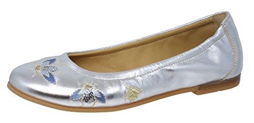 Momino Momino 3218 Ballerinas mit Stickereien für Mädchen und Damen, Silber (51561 Silver), EU 35