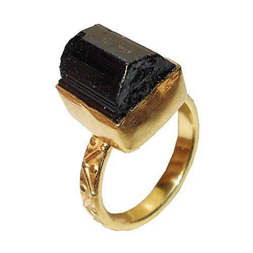 Bhagat Jewels Anillo de regalo de boda hecho a mano con piedra de turmalina negra cruda