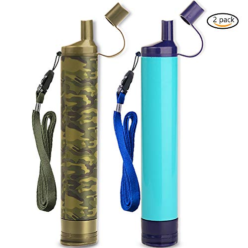 WakiWaki Straw Filter, Straw Water Filter, Hiking Water Purifier, Camping Straw Filter for Backpacking, Drinking Water in Survival Situation - Blue&Camo - 2Pack