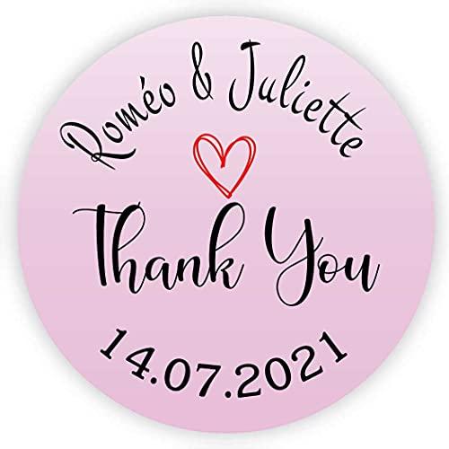 MameArt 50 Piezas Pegatinas Boda Personalizadas Thank You Gracias Nombres y Fecha, 4cm Etiquetas Perfecto para Invitaciones Matrimonio Boda Fiesta (Rosado)