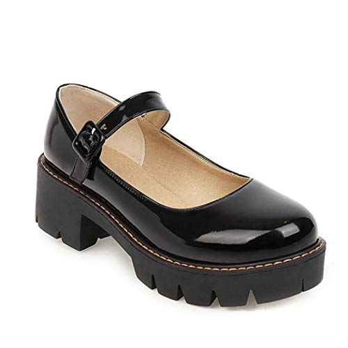 Women's Round Toe Ankle Strap Mary Janes Platform Low Heel Chunky Pumps Oxford Dress Shoes Black