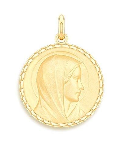 Virgen anunciación-Medalla religiosa-oro amarillo 9quilates-Diámetro: 17mm-www.diamants-perles.com