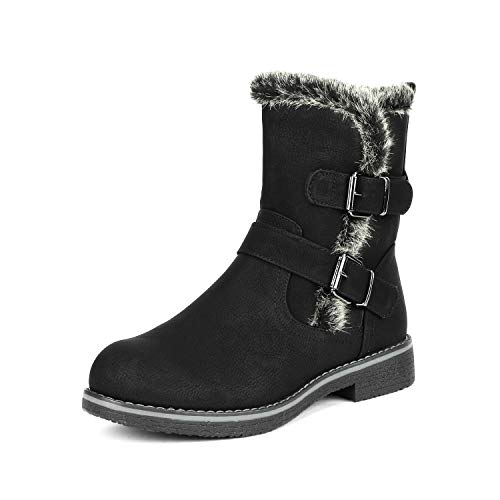 DREAM PAIRS Women's Lepore Black Mid Calf Faux Fur Winter Boots Size 9.5 B(M) US