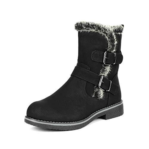 DREAM PAIRS Women's Lepore Black Mid Calf Faux Fur Winter Boots Size 10 B(M) US