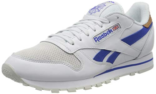 Reebok Classic Leather, Sneaker Hombre, White/Court Blue/Morning Fog, 42 EU