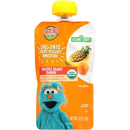 Earth's Best Organic Sesame Street Toddler Fruit Yogurt Smoothie, Pineapple Orange Banana, 4.2 Oz Pouch (Pack of 12)