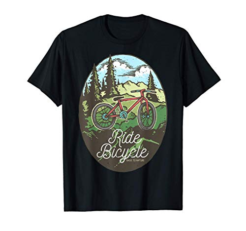 Mountain Sky Trees Nature Bike Riding Ride Bicycle T-Shirt